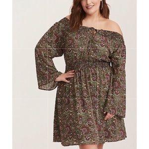 NWT Torrid Off-Shoulder Olive Print Dress Dress-2